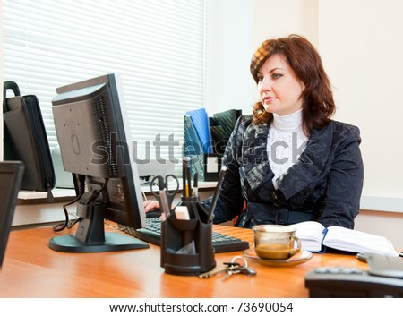 Business woman works in an office