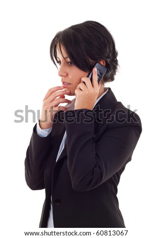 business woman worries about bad business news or crisis - stock photo