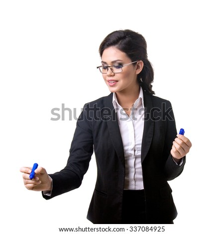 Business woman writes marker on glass - stock photo