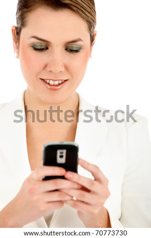 Business woman writing a text message on her mobile - isolated - stock photo