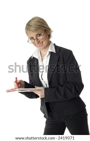 business woman writing and smiling on white