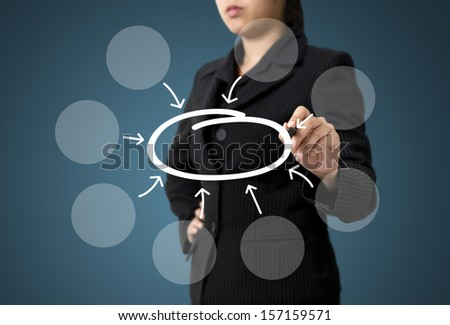 Business Woman Writing Bubble Diagram Concept - stock photo