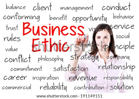 Business woman writing business ethic concept.  - stock photo
