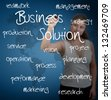 business woman writing business solution concept - stock photo
