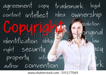 Business woman writing copyright concept. Blue background. - stock photo