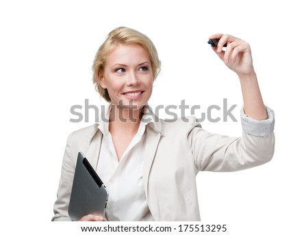 Business woman writing on the invisible screen with marker, isolated on white. Income commerce - stock photo