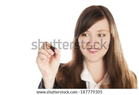 business woman writing on white board