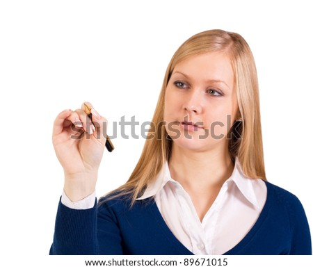 business woman writing on white isolated background - stock photo