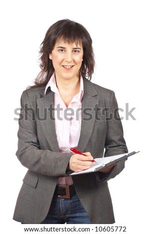 Business woman writing over a white background
