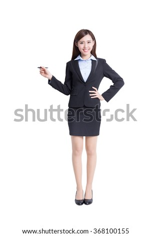 business woman writing something in full length isolated on white background, asian - stock photo
