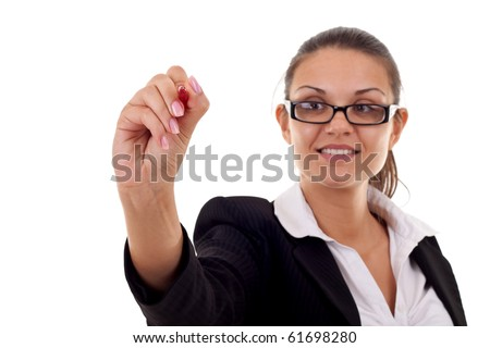 Business woman writing something with a  marker or pen