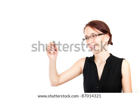 business woman writing something with a pen isolated on white background - stock photo