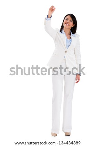 Business woman writing with a pen - isolated over white