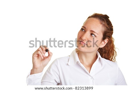 Business woman writing with a pen on glass - stock photo