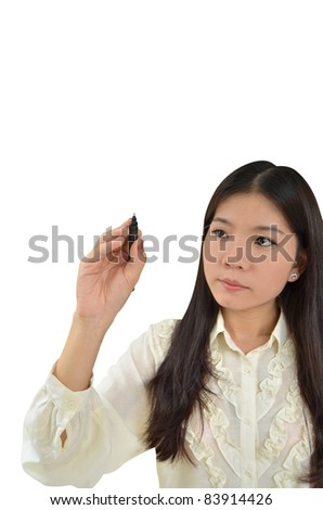 Business woman writing with black marker on white background - stock photo