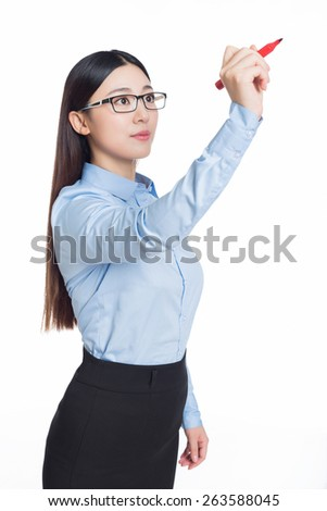 business woman writing with red marker pen on virtual screen. white background - stock photo