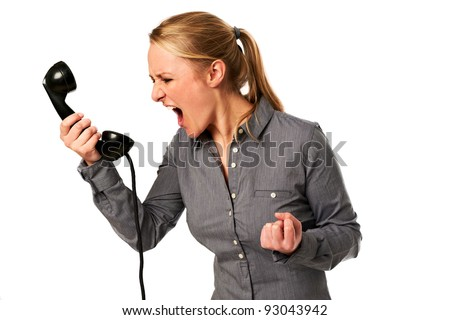 business woman yelling at phone - stock photo