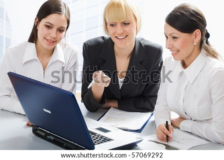 Business women discussing in a meeting - stock photo