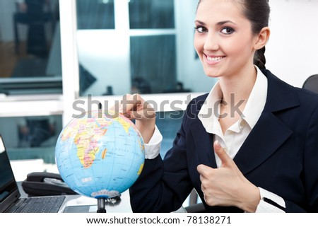 business women found  place for new job, smiling and giving  thumb up - stock photo