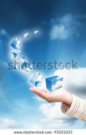 Business women hand holding on sky - stock photo