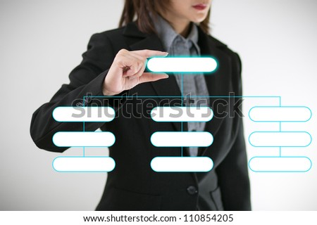 Business women hand with selected a chart - stock photo
