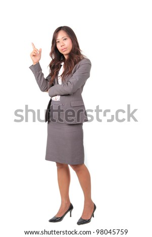 business women in uniform self confidence on white background - stock photo