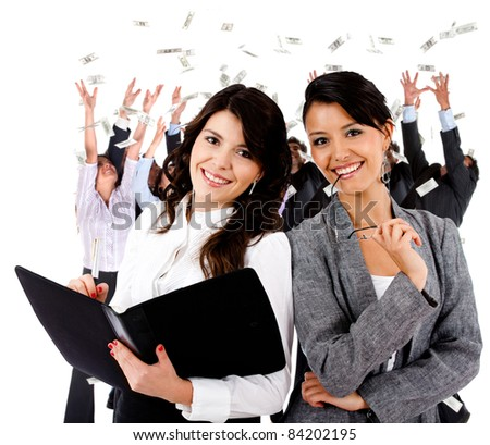 Business women leading a successful corporate group ? isolated - stock photo