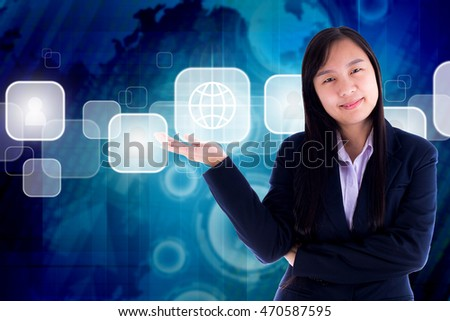 business women. on technology background blue