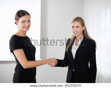 Business women shaking hands making a deal - stock photo