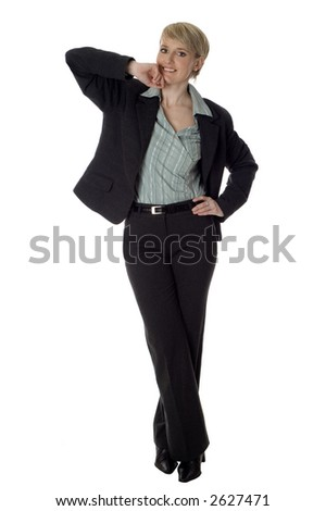 business women standing and posing on white background - stock photo