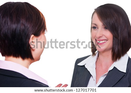 Business women talking to each other - stock photo