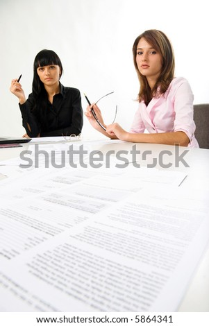 business women with documents - stock photo