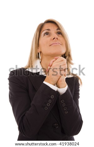 Business women with her hands crossed imploring something - stock photo