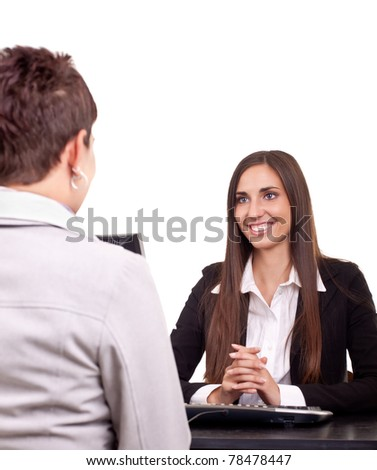 business women working at meeting with client - stock photo