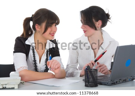 business women  working on isolated background