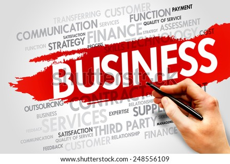 Business word cloud concept - stock photo