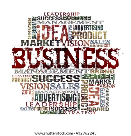 Business Word Cloud Concept Different Words on white background  - stock photo