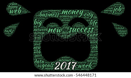 Business 2017 word cloud concept in emoticon shape