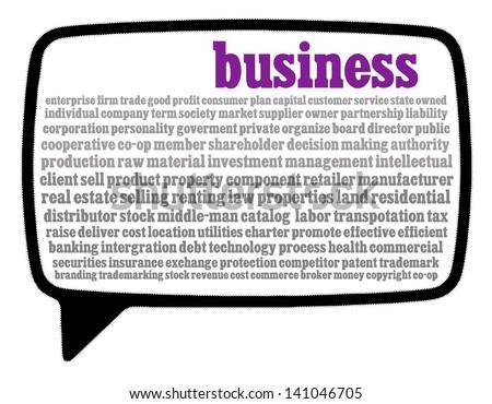 Business word cloud in speech bubble - stock photo