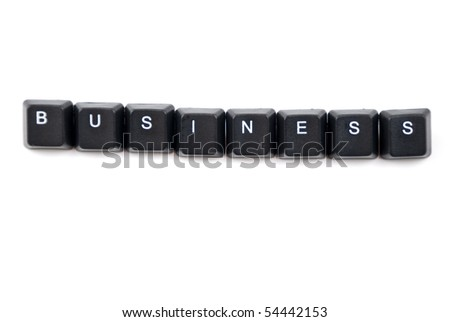 Business word composed with black letters of computer keyboard isolated on white background and copy space for your text message