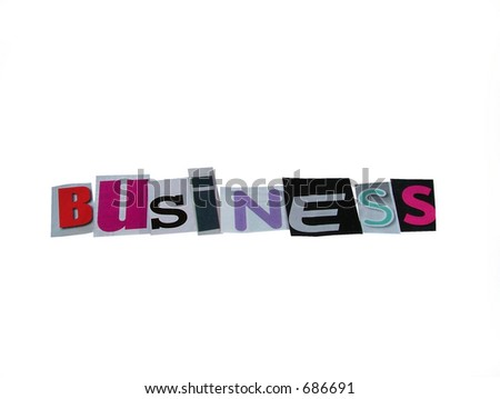 business word cut fron paper