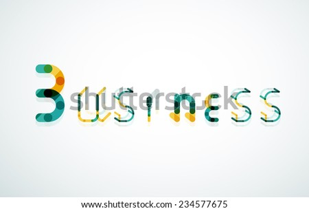 Business word keyword font, minimal line design - stock photo