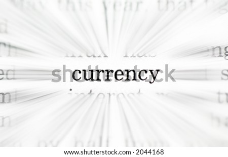 business words concept from newspaper belongs to a set of 5  with exactly the same size and type. The words are: economy, business, strategy, profit and currency - stock photo