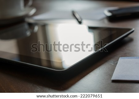 Business Work At Home With Tablet & Smartphone - stock photo