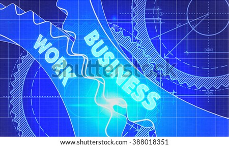 Business Work on the Mechanism of Gears. Blueprint Style. Technical Design. 3d illustration, Lens Flare. - stock photo