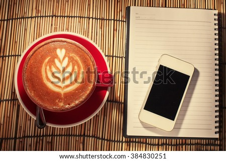 Business work place with cup of coffee  - stock photo