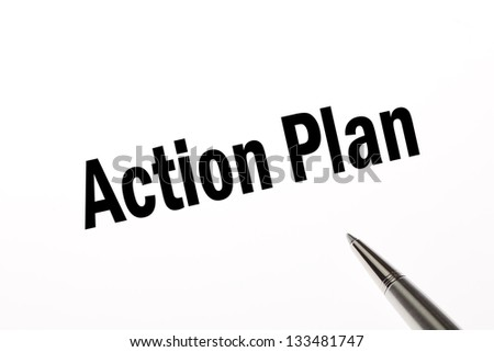 Business work plan on white paper white pen pointing