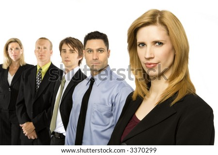 Business workers in a row
