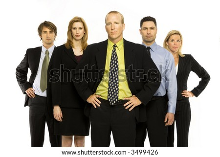 Business workers stand with pride against a white background - stock photo