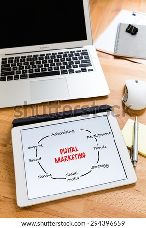 Business working desk with tablet showing digital marketing concept - stock photo